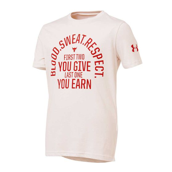 Under Armour Boys Project Rock Blood Sweat Respect Short Sleeve Tee, White / Red, rebel_hi-res