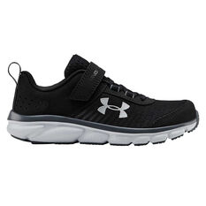 Under Armour Charged Assert 8 Kids Running Shoes, Black / White, rebel_hi-res
