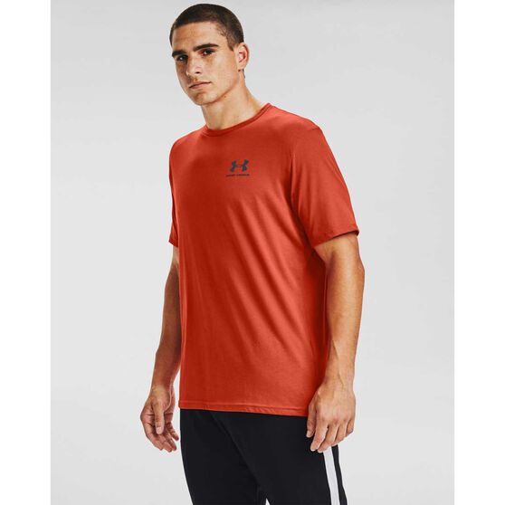 Under Armour Mens Sportstyle Left Chest Short Sleeve Tee, Orange, rebel_hi-res