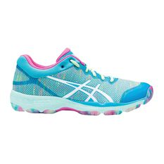 Asics Netburner Professional FF Womens Netball Shoes Blue / Pink US 6, Blue / Pink, rebel_hi-res