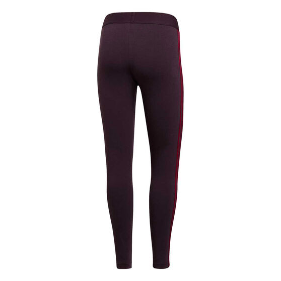 adidas Womens Essentials 3 Stripes Tights, Purple, rebel_hi-res