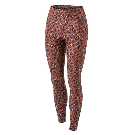 Running Bare Womens Ab Waisted Power Moves Full Length Tights, Print, rebel_hi-res