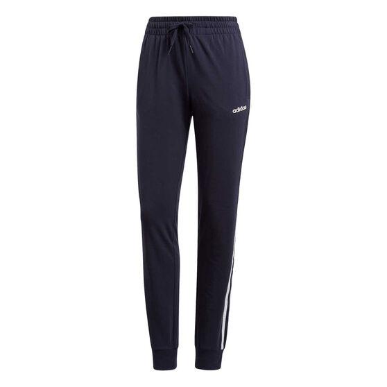 adidas Womens Essentials 3-Stripes Jersey Track Pants, Navy, rebel_hi-res