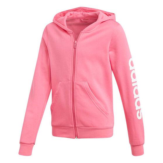 adidas Girls Essentials Linear Full Zip Hoodie Pink / White 6, Pink / White, rebel_hi-res