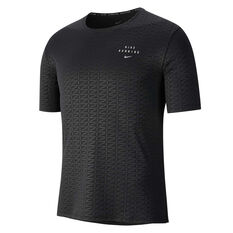 Nike Mens Miler Run Division Tee Black S, Black, rebel_hi-res