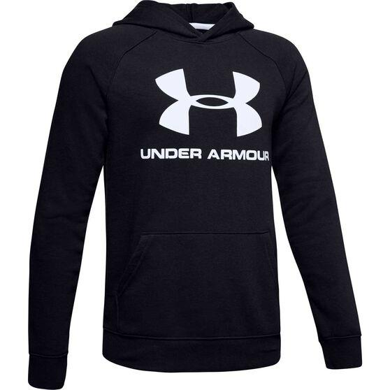 Under Armour Boys Rival Logo Hoodie, Black / White, rebel_hi-res