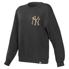 Majestic Womens NY Leopard Sweatshirt Black XS, Black, rebel_hi-res