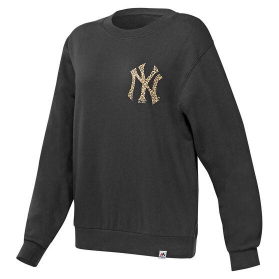 Majestic Womens NY Leopard Sweatshirt, Black, rebel_hi-res