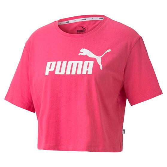 Puma Womens Essentials Cropped Tee, Pink, rebel_hi-res