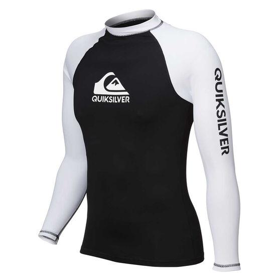 Quiksilver Mens On Tour Long Sleeve Rash Vest Black / White S, Black / White, rebel_hi-res