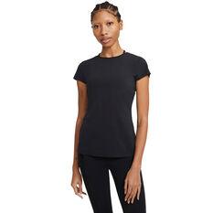 Nike Womens Yoga Luxe Tee Black XS, Black, rebel_hi-res