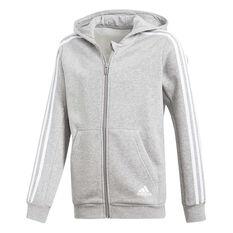 adidas Boys 3 Stripes Hoodie Grey / White 8, Grey / White, rebel_hi-res