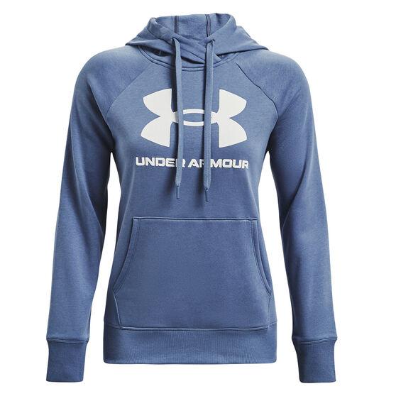 Under Armour Womens Rival Fleece Logo Hoodie, Blue, rebel_hi-res