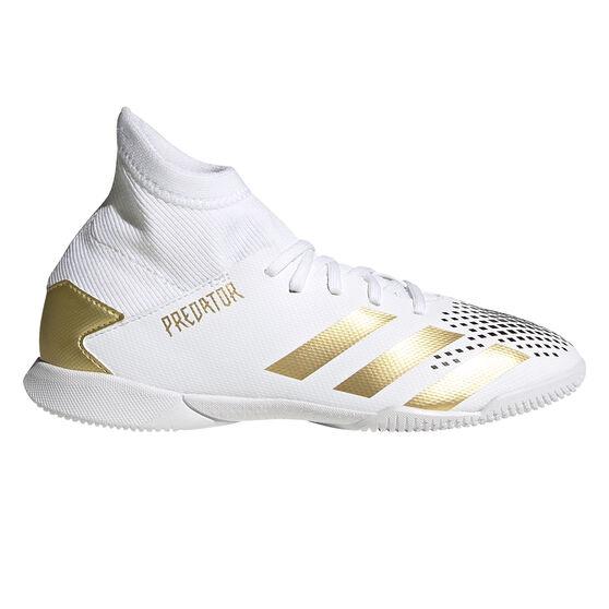 adidas Predator 20.3 Kids Indoor Soccer Shoes White/Gold US 1, White/Gold, rebel_hi-res
