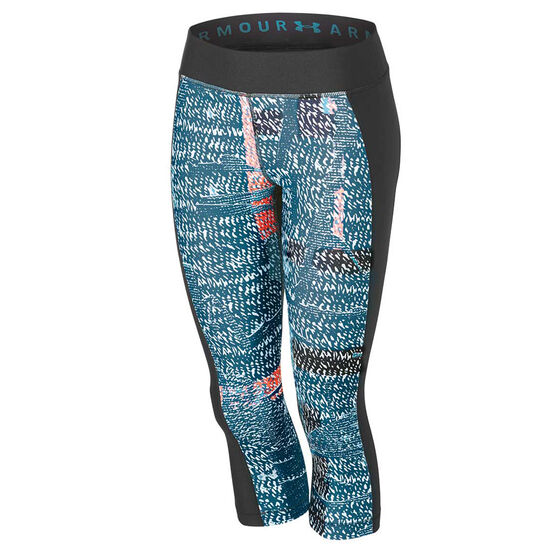 Under Armour Womens HeatGear Armour Printed Tights, Black, rebel_hi-res