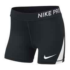 Nike Girls Pro Training Shorts Black / White XS, Black / White, rebel_hi-res