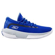 Under Armour SC 3ZERO III Kids Basketball Shoes Blue / Grey US 4, Blue / Grey, rebel_hi-res