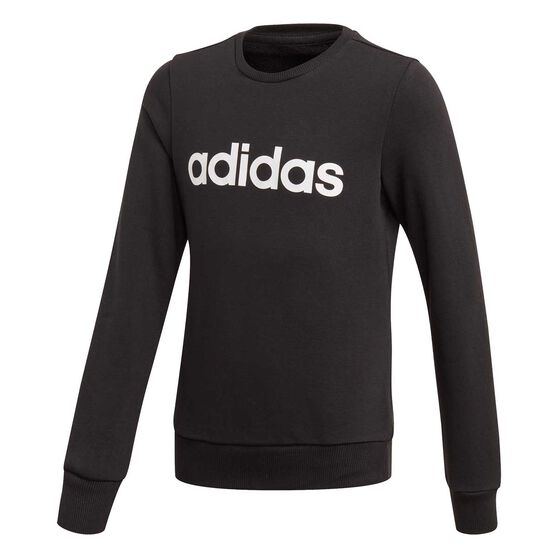 adidas Girls Essentials Linear Sweatshirt, Black / White, rebel_hi-res