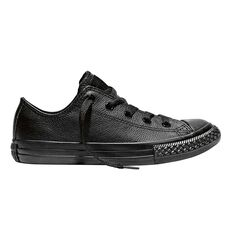 Converse Chuck Taylor All Star Leather Low Top Junior Casual Shoes Black US 11, Black, rebel_hi-res