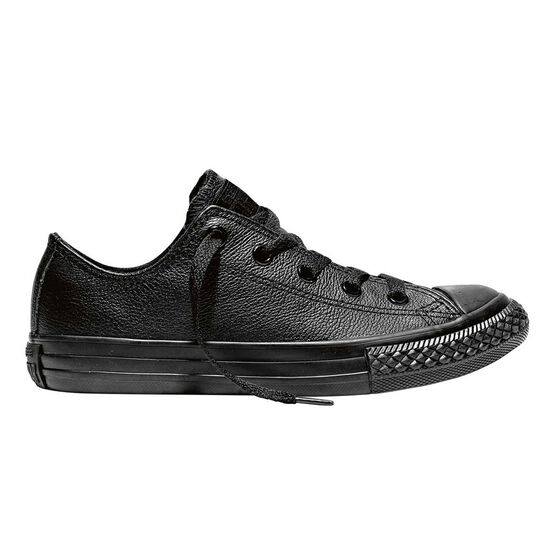 Converse Chuck Taylor All Star Leather Low Top Junior Casual Shoes, Black, rebel_hi-res