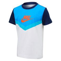 Nike Boys Futura Chevron Tee White/Blue 4, White/Blue, rebel_hi-res