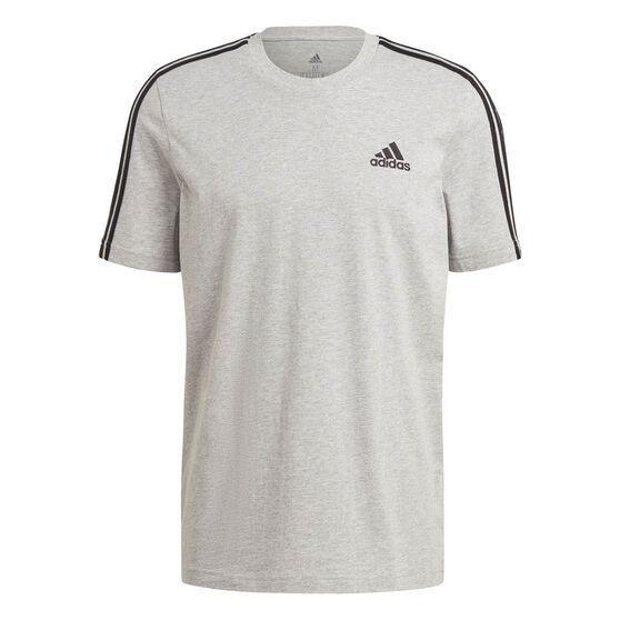 adidas Mens Essentials 3-Stripes Tee, Grey, rebel_hi-res
