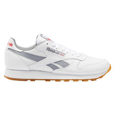 Reebok Classic Leather Casual Shoes White/Grey US 4, White/Grey, rebel_hi-res