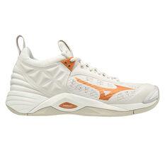 Mizuno Wave Momentum Womens Netball Shoes White/Gold US 6.5, White/Gold, rebel_hi-res
