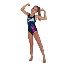 Speedo Girls Digital Placement Splashback One Piece Swimsuit Black 6, Black, rebel_hi-res