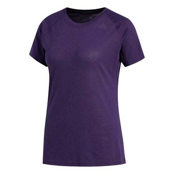 adidas Womens Prime Training Tee, Purple, rebel_hi-res