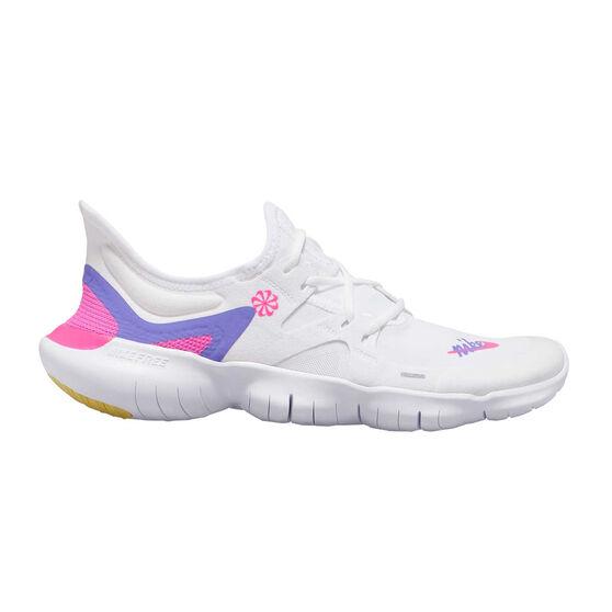 Nike Free RN 5.0 Womens Running Shoes, White / Pink, rebel_hi-res