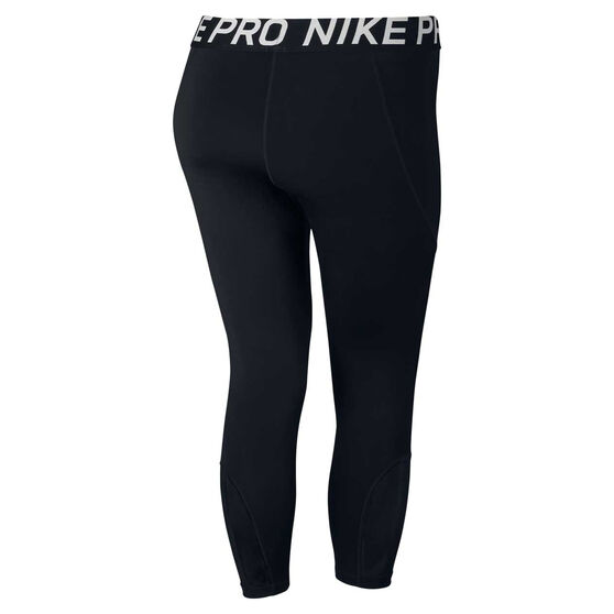 Nike Womens Pro Crop Plus, Black / White, rebel_hi-res