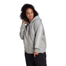 adidas Womens Sportswear Wrapped 3-Stripes Hoodie Grey 1XB, Grey, rebel_hi-res