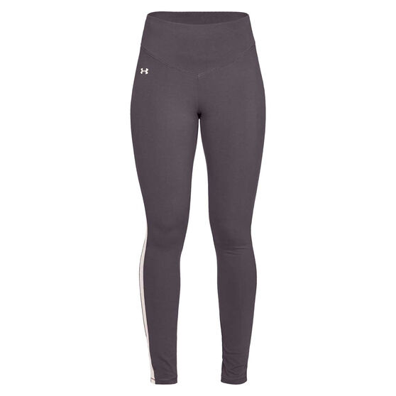 Under Armour Womens Taped Favourite Tights, Grey, rebel_hi-res