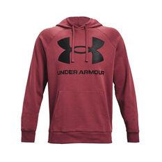 Under Armour Mens Rival Fleece Logo Hoodie Maroon XS, Maroon, rebel_hi-res