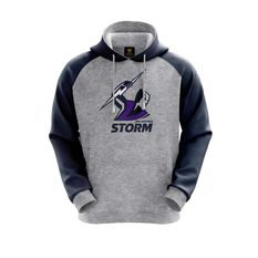 Melbourne Storm 2019 Mens Hoodie Grey S, Grey, rebel_hi-res