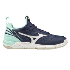 Mizuno Wave Luminous Womens Netball Shoes Blue/Purple US 6.5, Blue/Purple, rebel_hi-res