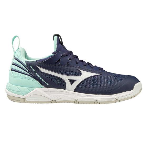 Mizuno Wave Luminous Womens Netball Shoes, Blue/Purple, rebel_hi-res
