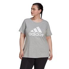 adidas Womens Essentials Logo Tee Plus Grey 1X, Grey, rebel_hi-res