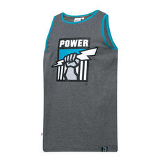 Port Power Mens Supporter Logo Tank Grey S, Grey, rebel_hi-res