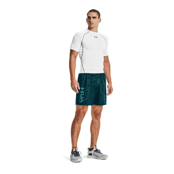 Under Armour Mens Woven Emboss Shorts, Blue, rebel_hi-res