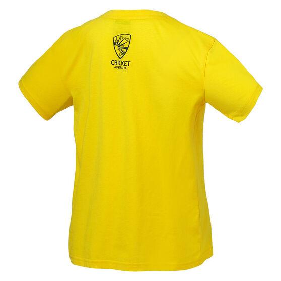 Cricket Australia 2018/19 Kids Supporter Tee Yellow 8, Yellow, rebel_hi-res