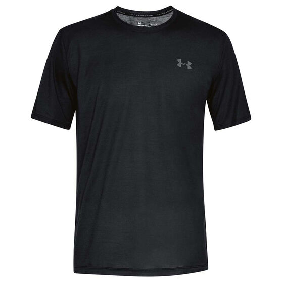 Under Armour Mens Threadborne Tee, Black / Grey, rebel_hi-res