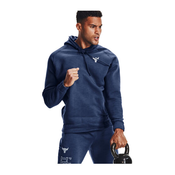 Under Armour Mens Project Rock Charged Cotton Hoodie, Blue, rebel_hi-res