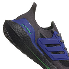 adidas Ultraboost 21 Mens Running Shoes, Grey/Green, rebel_hi-res