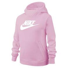 Nike Sportswear Girls Pullover Hoodie Pink/White XS, Pink/White, rebel_hi-res