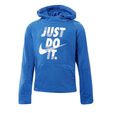 Nike Boys Dri-FIT Pullover Hoodie Blue / White 4, Blue / White, rebel_hi-res