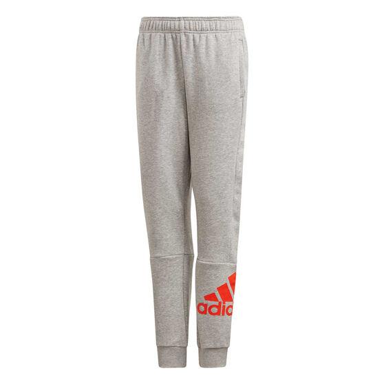 adidas Boys Must Haves Badge of Sport Pants Grey / Orange 16, Grey / Orange, rebel_hi-res