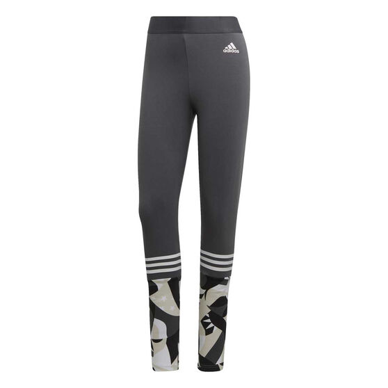adidas Womens Sport ID Printed Tights, Grey, rebel_hi-res
