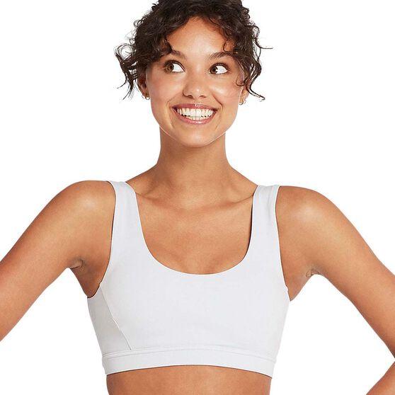 Nimble Womens Dainty V Neck Sports Bra, White, rebel_hi-res